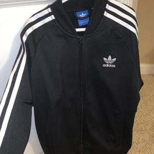 zip up adidas stripe jacket